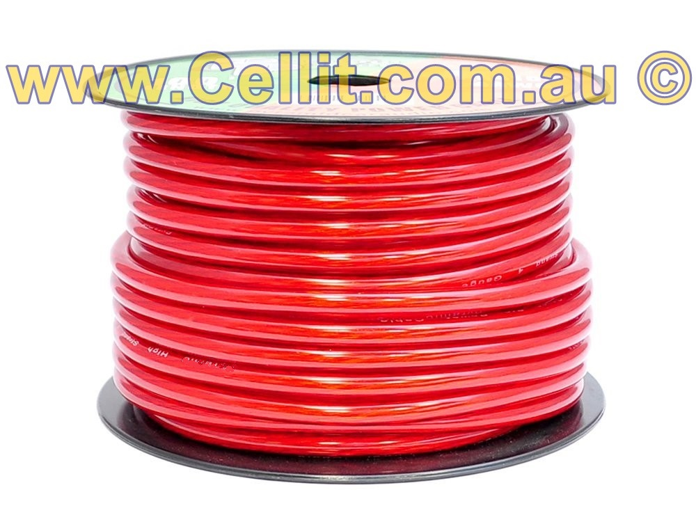 4AWG - 180Amp. 30m REEL RED DC POWER HEAVY DUTY AUTO CABLE. AMPLIFIER WIRE, SOLAR ETC.
