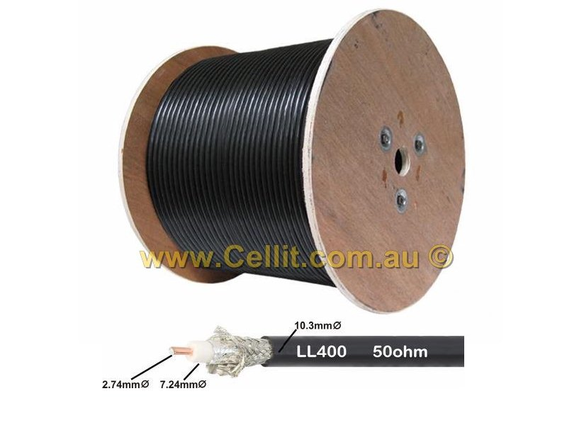 COAXIAL CABLE LL400 10mm. COMMUNICATIONS COAX ANTENNA LEAD CB UHF RADIO. 50m 100m 305m.