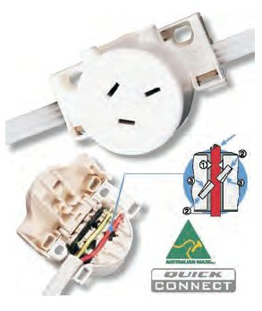 SURFACE MOUNT PLUG SOCKET. QUICK CONNECT - CLIPSAL