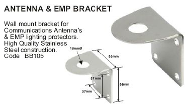 'L' MOUNTING STAINLESS STEEL BRACKET - ANTENNA, LIGHT ETC.