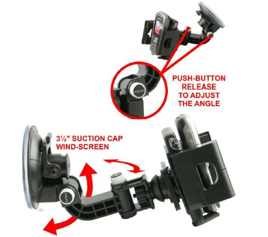 UNIVERSAL CRADLE. WINDSCREEN/GLASS SUCTION MOUNT BUTTON ADJUST