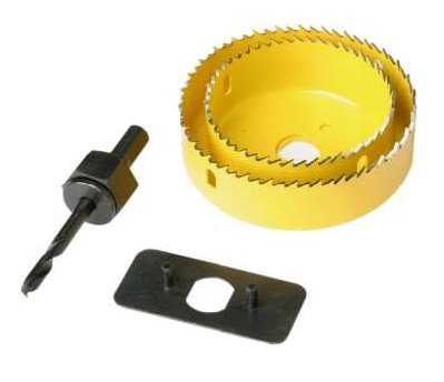 HOLE SAW KIT FOR DOWN LIGHTS (DOWNLIGHT) PIPES ETC. 2 CUTTERS