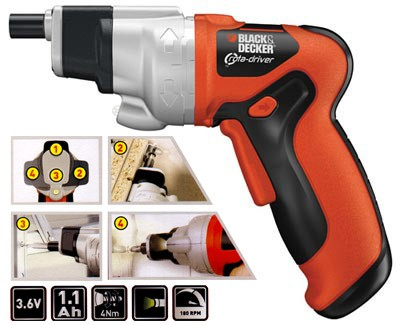 Black & Decker Re-Chargeable Li-Ion cordless screw driver.