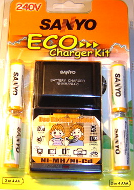 SANYO CHARGER AND 4X AA RECHARGEABLE BATTERIES