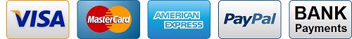 We Take Visa AmEx Mastercard PayPal and Bank Payments